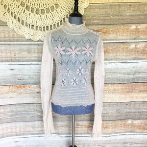 Free People Vintage Mohair Turtleneck Lace Sweater
